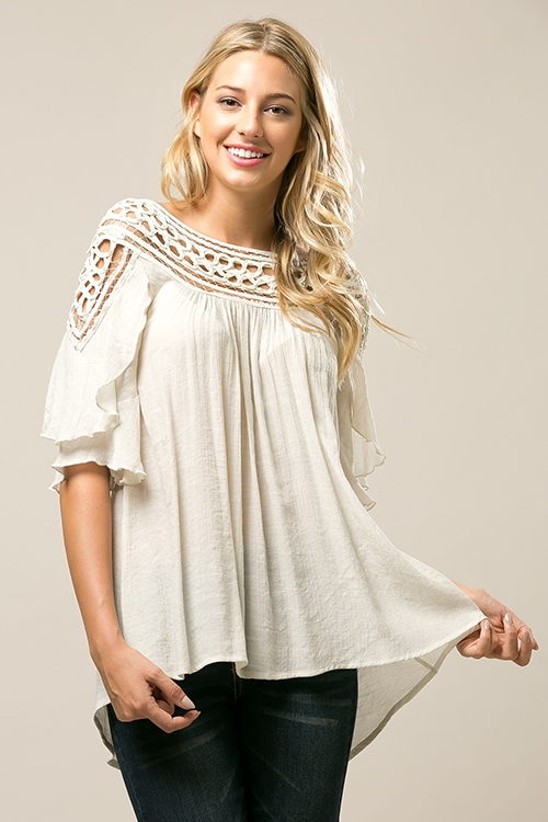 Ruffle tunic top with patch - orangeshine.com