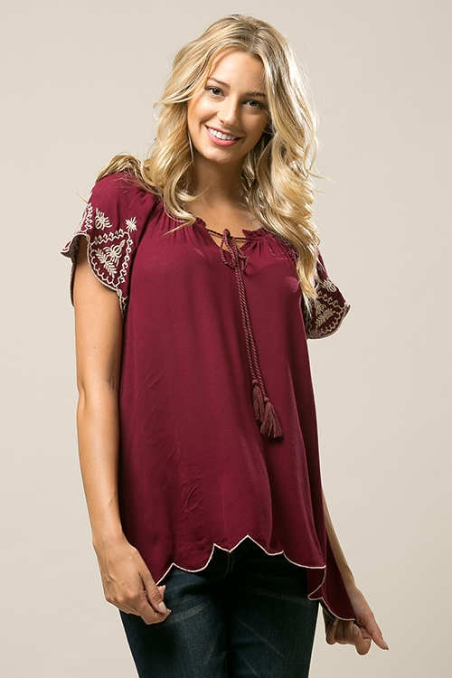 Embroidered babydoll top - orangeshine.com