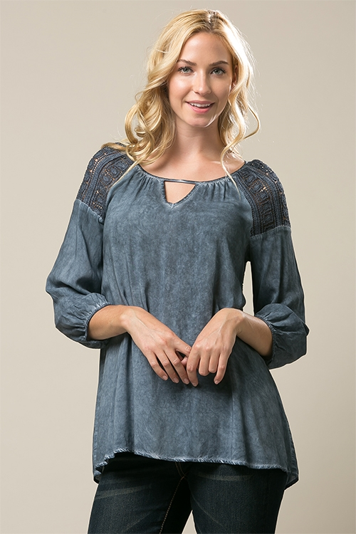 Wash Dye Lace Tunic - orangeshine.com