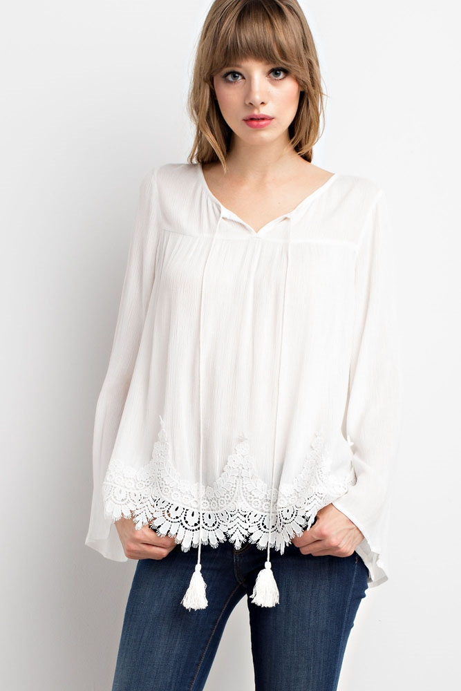 LACE TRIM BELL SLEEVED TOP - orangeshine.com