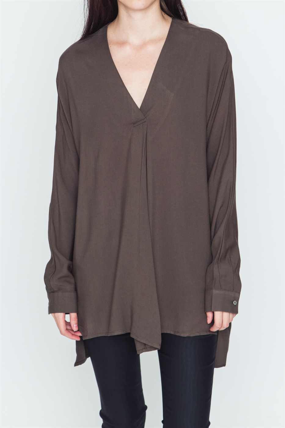 V NECK PLEATED DETAILED TUNIC - orangeshine.com