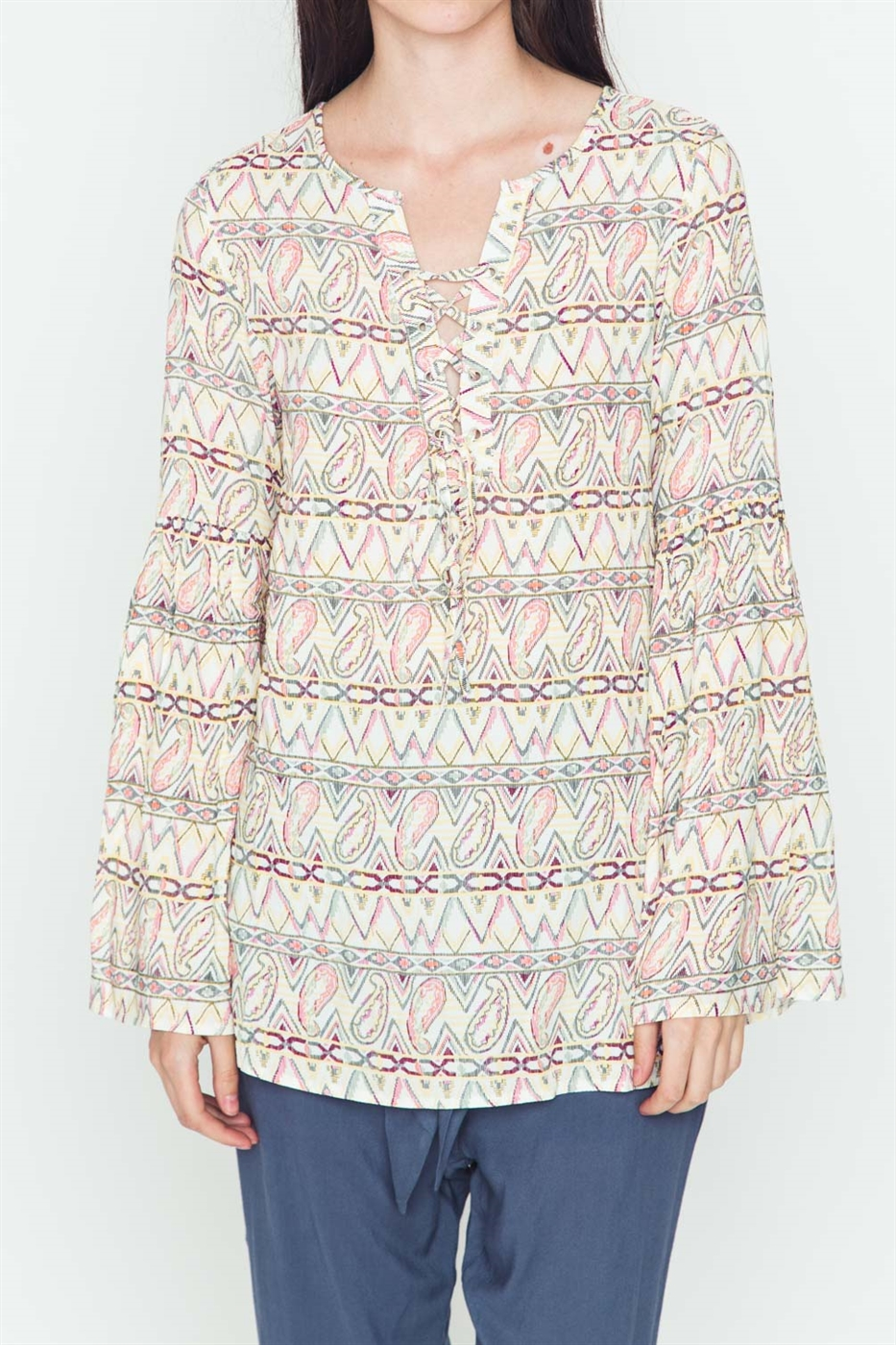 ETHNIC PRINT LONG SLEEVE TOP - orangeshine.com