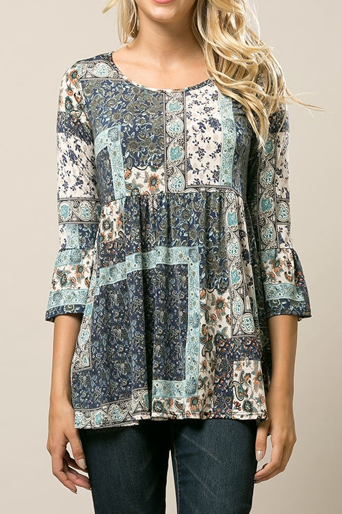 3/4 Ruffled Patchwork Tunic - orangeshine.com