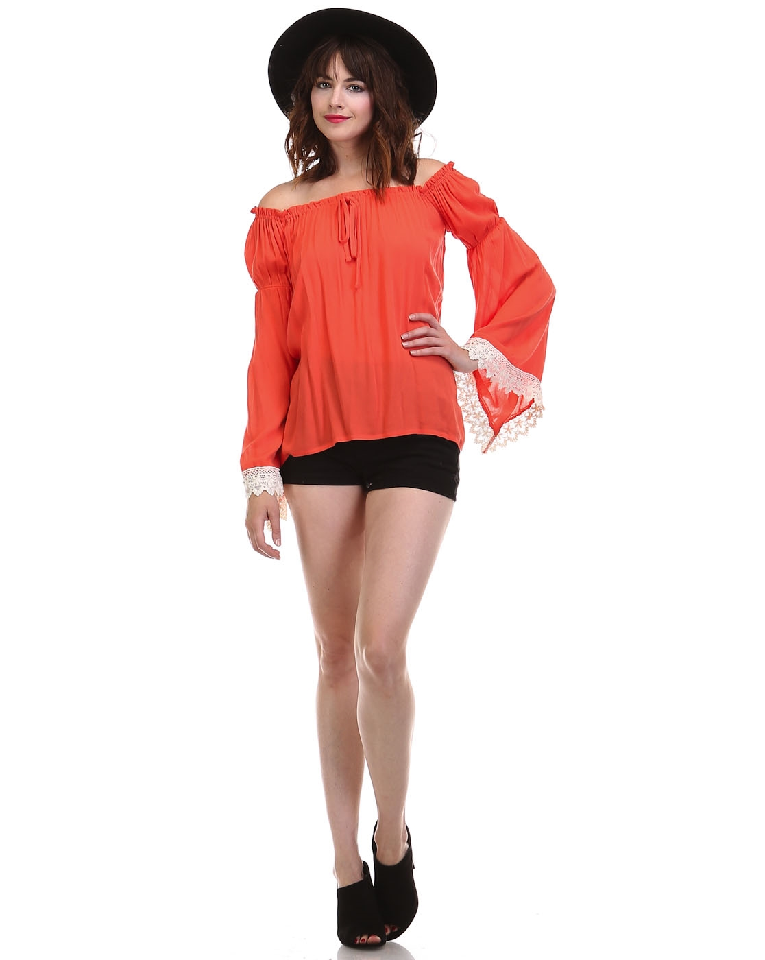 PEASANT TOP W/LACE TRIM - orangeshine.com