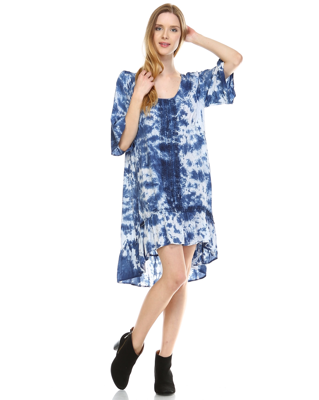 TIE DYE HI-LOW DRESS - orangeshine.com