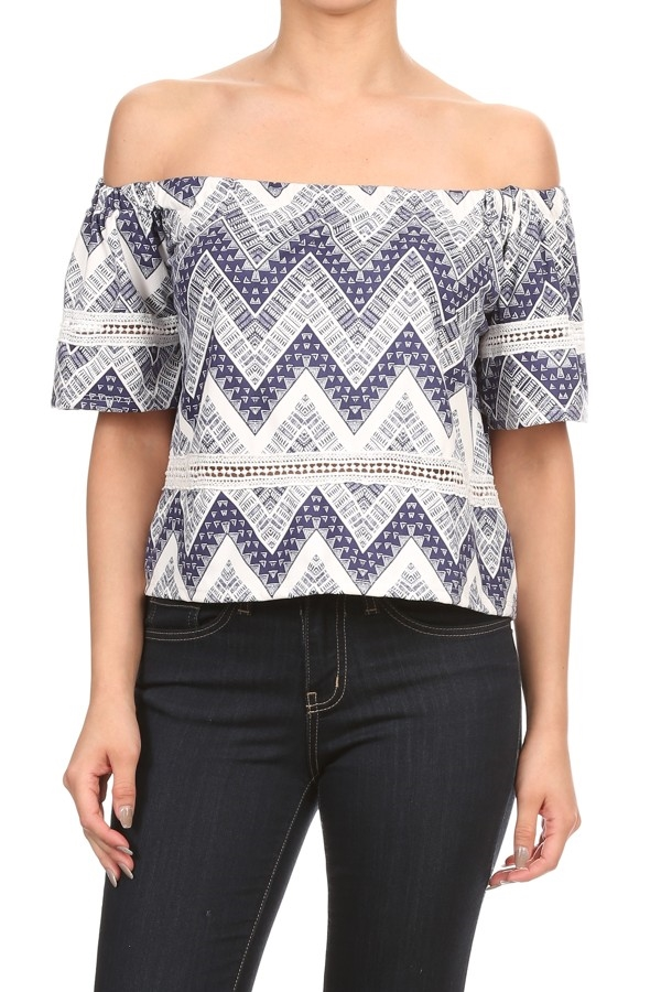 OFF SHOULDER CHEVRON TOP - orangeshine.com
