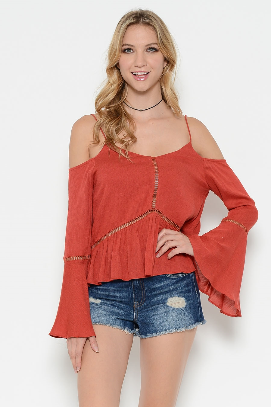 OFF SHOULDER LACE TRIM TOP - orangeshine.com