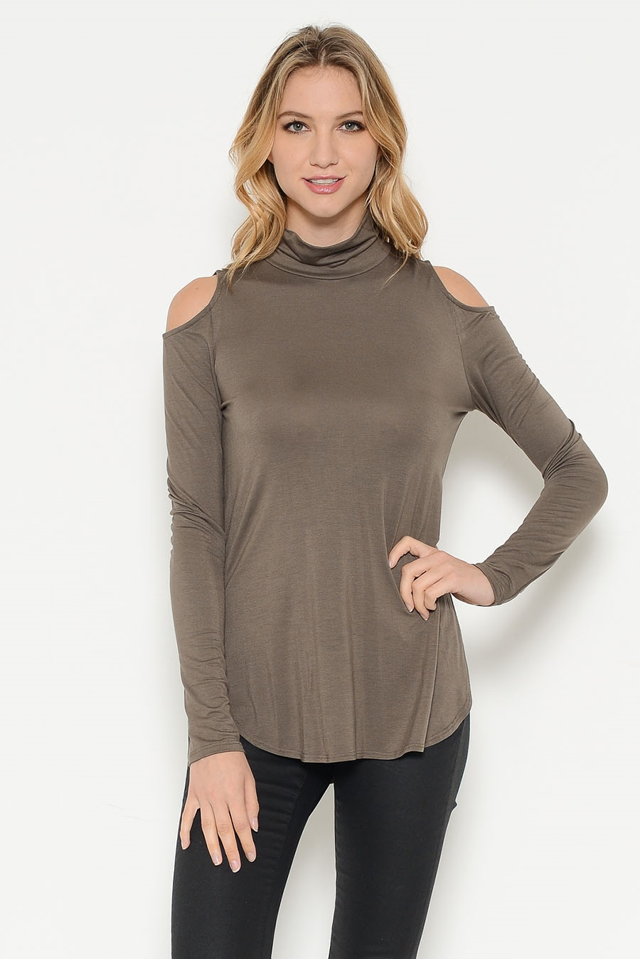 MOCK NECK OPEN SHOULDER TOP - orangeshine.com