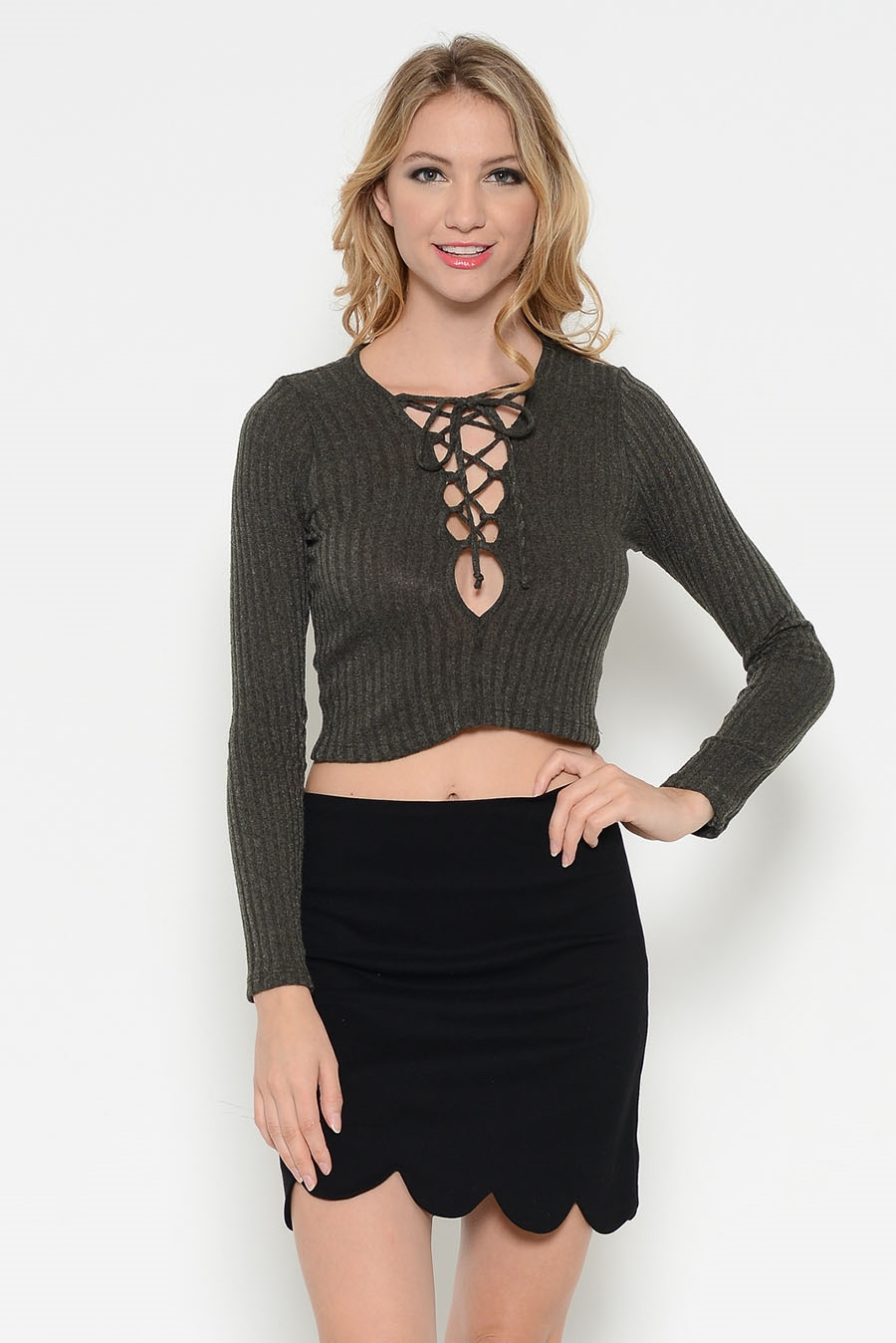 RIB DEEP NECK LONG SLVCROP TOP - orangeshine.com