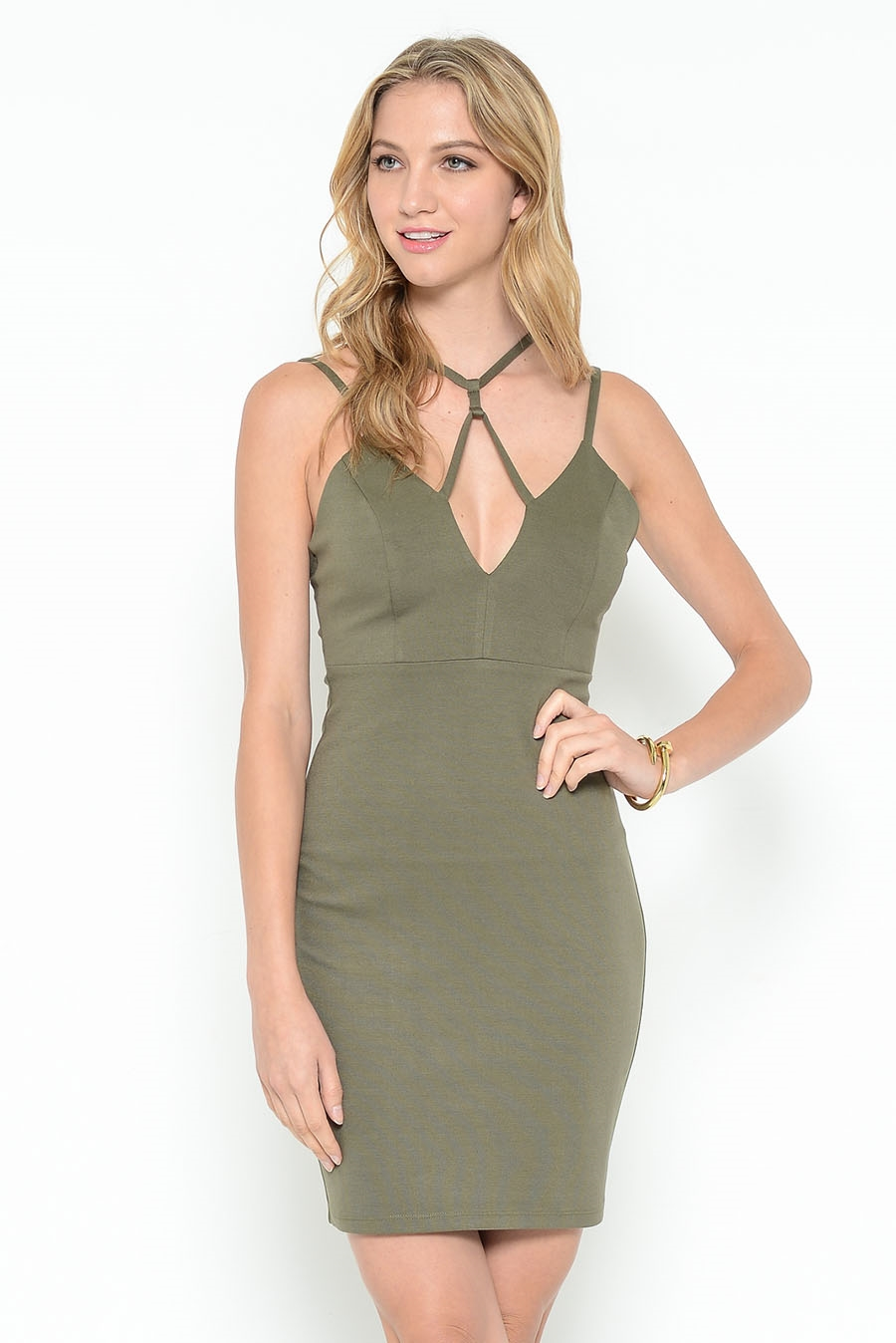 STRAPPY NECK MIDI DRESS - orangeshine.com