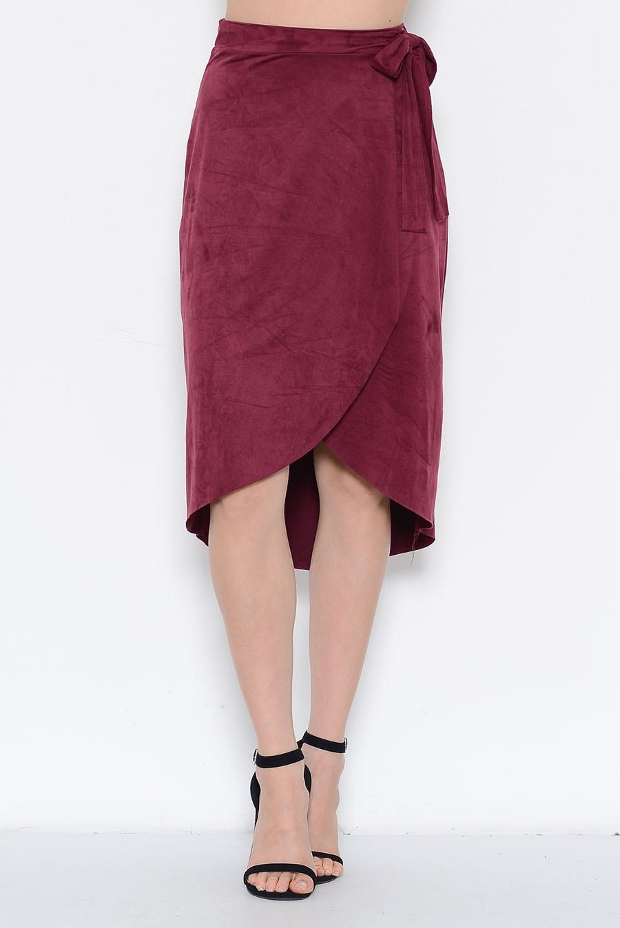 SUEDE OVER TIE SIDE SKIRT - orangeshine.com