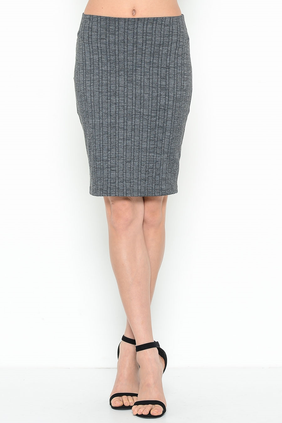 SLUB RIB HIGH WAIST SKIRT - orangeshine.com