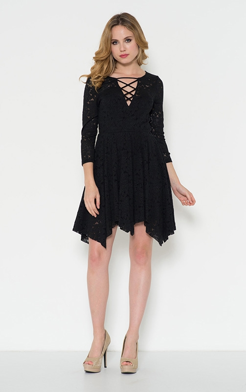 Lace Handkerchief Hem Dress - orangeshine.com