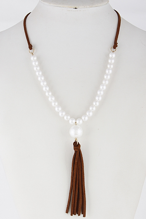 Faux Pearl Necklace - orangeshine.com