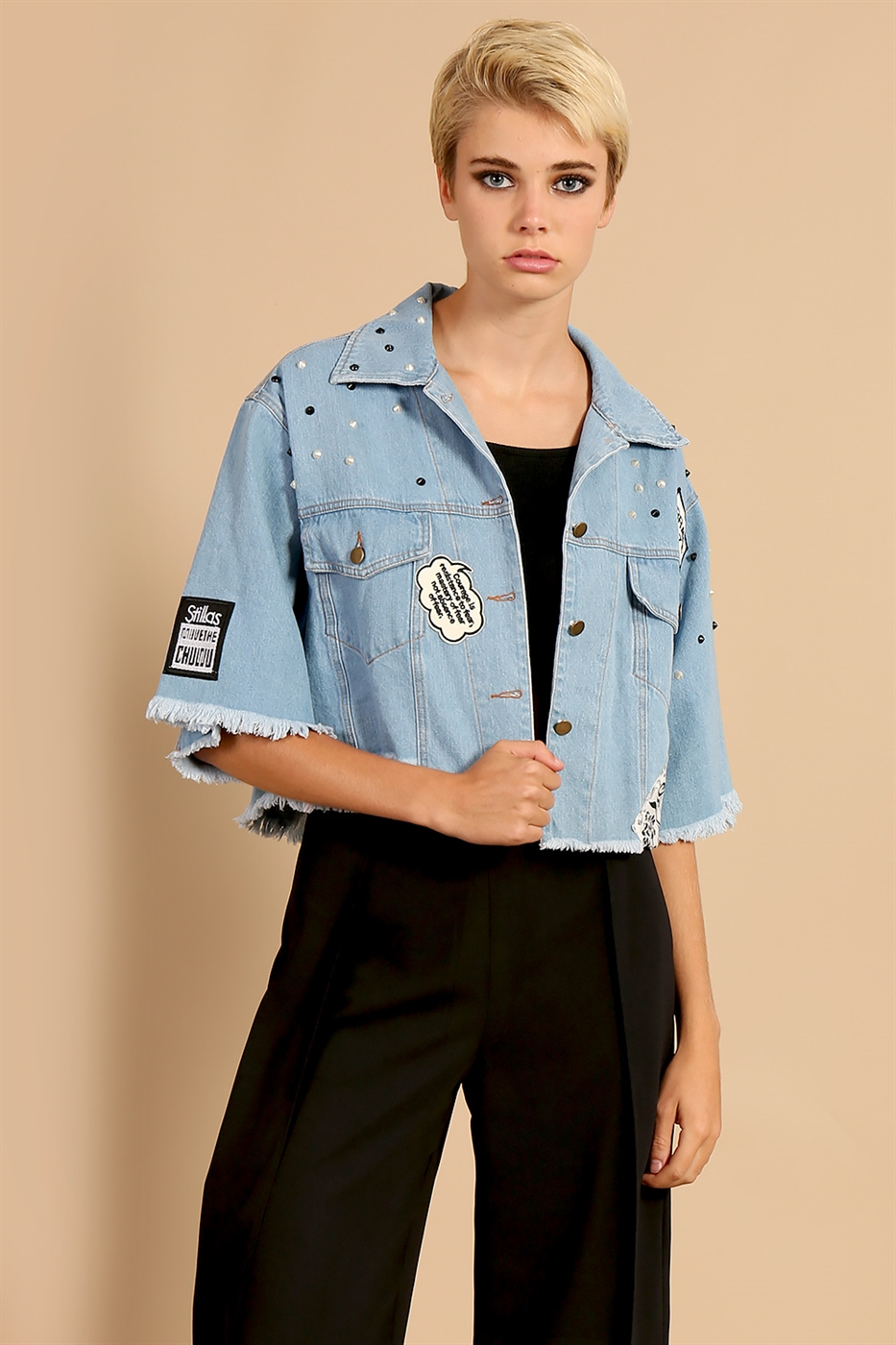 Patched Cropped Denim Shirt - orangeshine.com