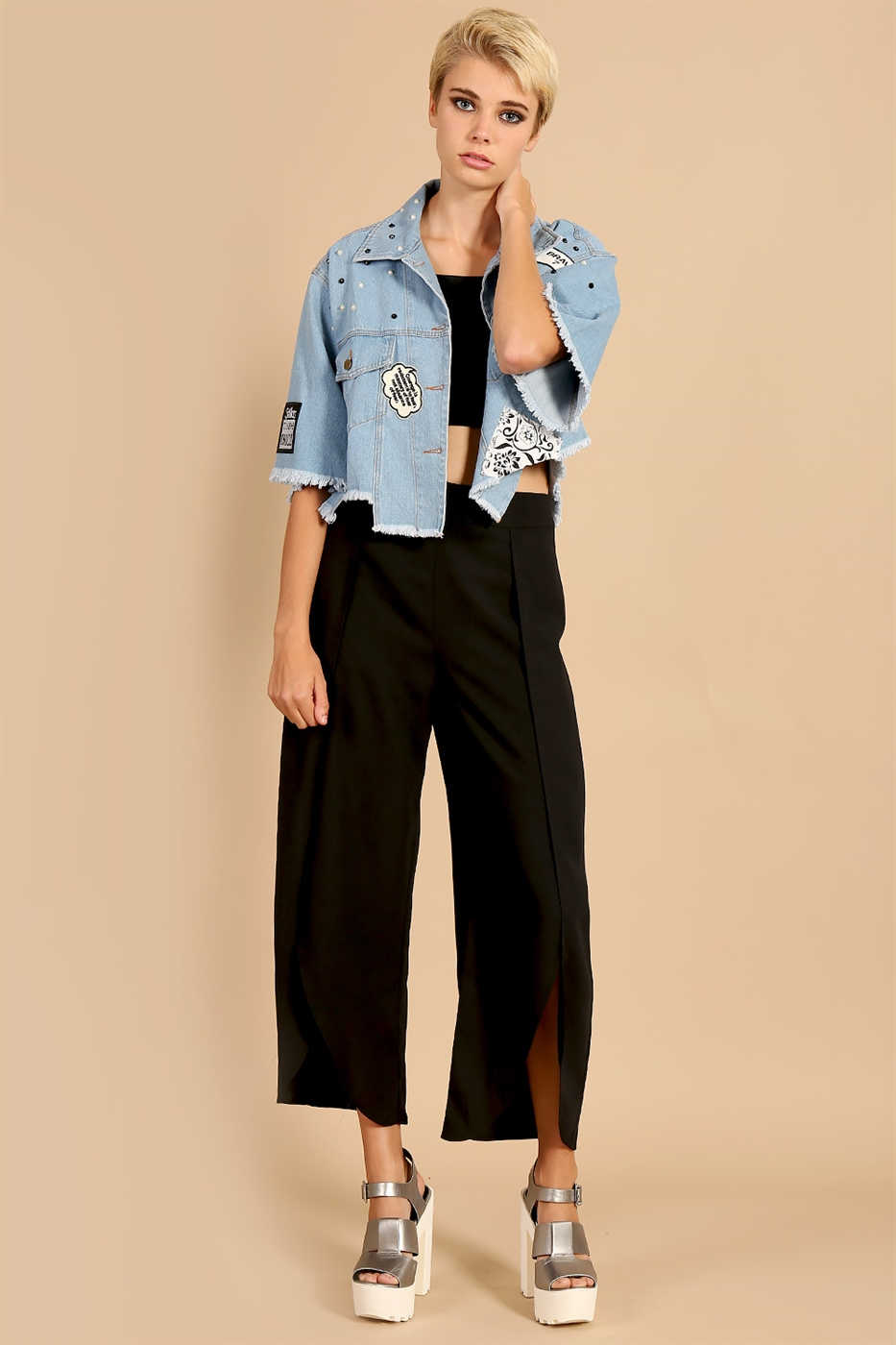Front Slit Ankle Trousers - orangeshine.com