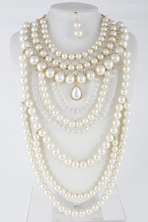 Layered Faux Pearl Necklace - orangeshine.com