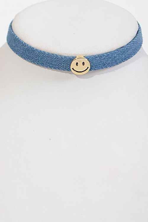 Denim Smiley Face Choker - orangeshine.com
