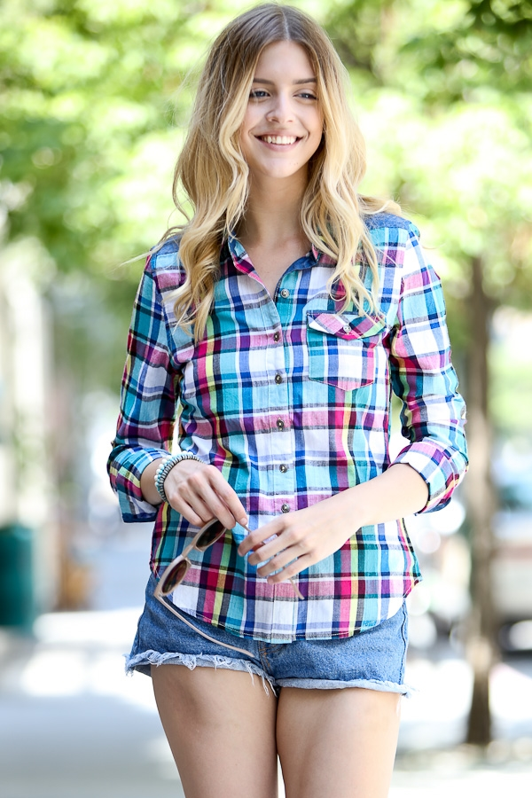 Plaid casual shirt top - orangeshine.com