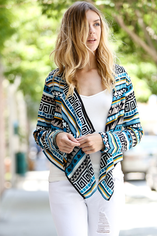 Geometric pattern cardigan  - orangeshine.com