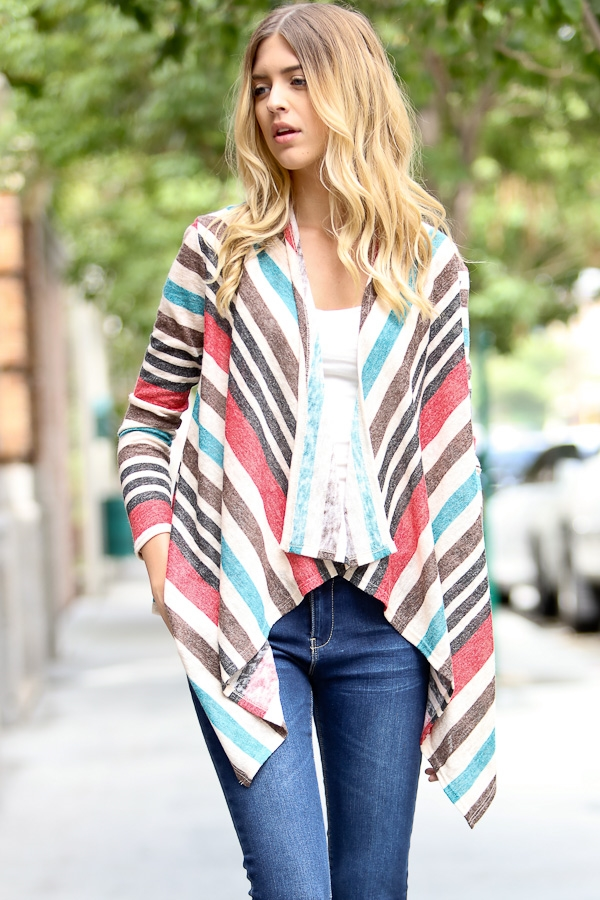 Long sleeve multi-color stripe - orangeshine.com