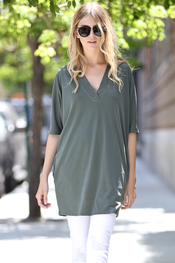Short sleeve v-neck dressy top - orangeshine.com