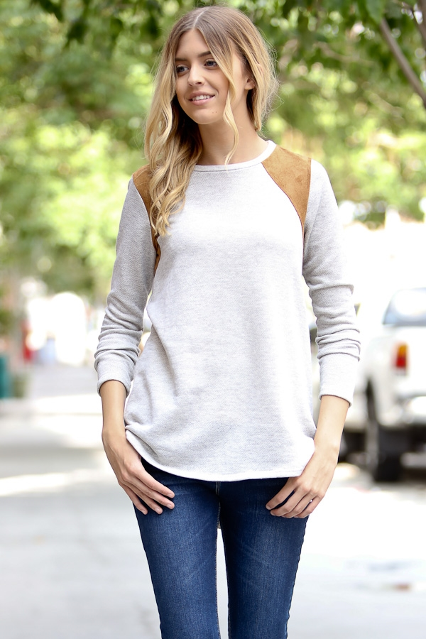 Long sleeve swede casual top - orangeshine.com