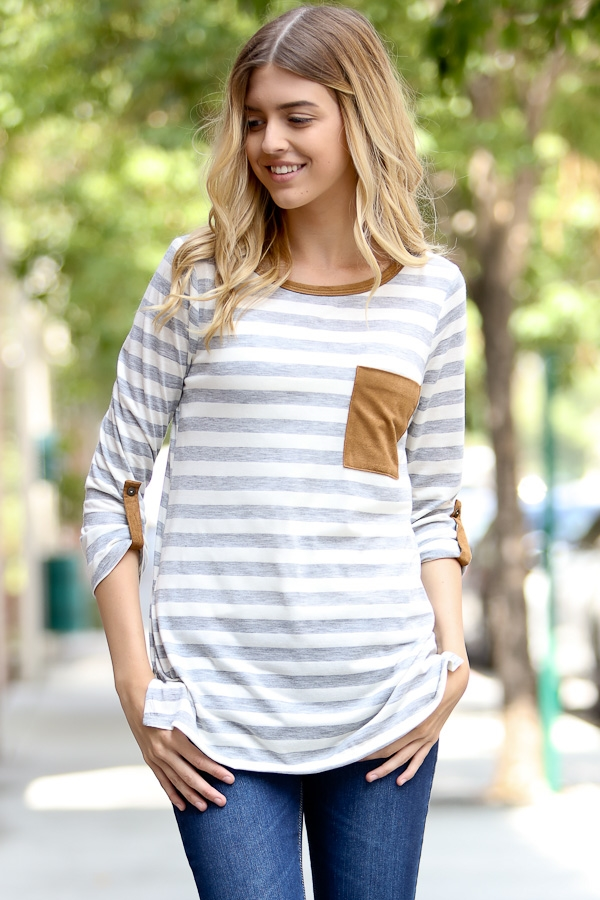 Rolled up sleeve stripe top - orangeshine.com