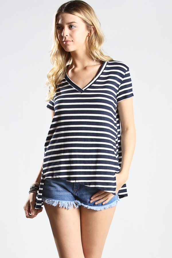V-neck stripe short sleeve top - orangeshine.com