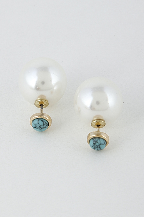 Pearl Inspired Hoop Earrings - orangeshine.com