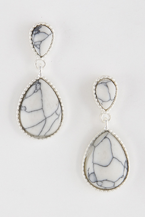 Stone Tear Drop Earrings - orangeshine.com