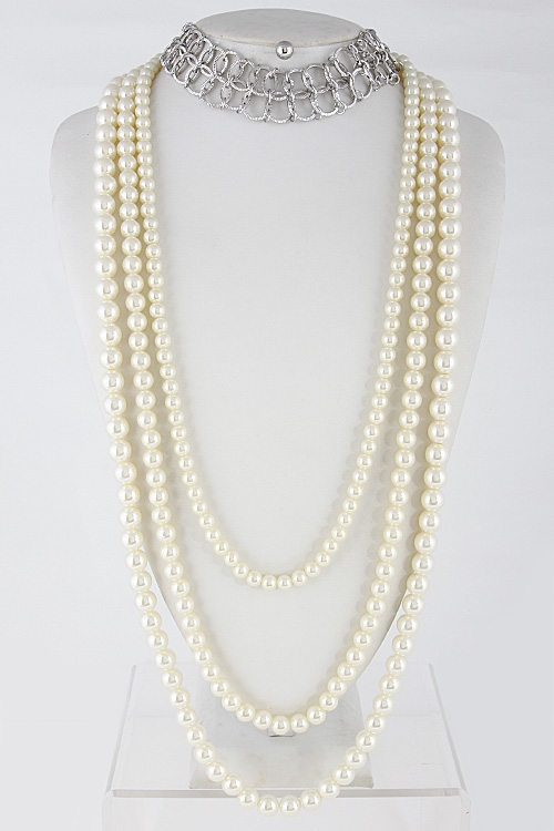 Chain With Faux Pearl Necklace - orangeshine.com