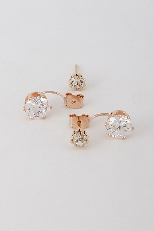 Curved Rhinestone Earrings - orangeshine.com