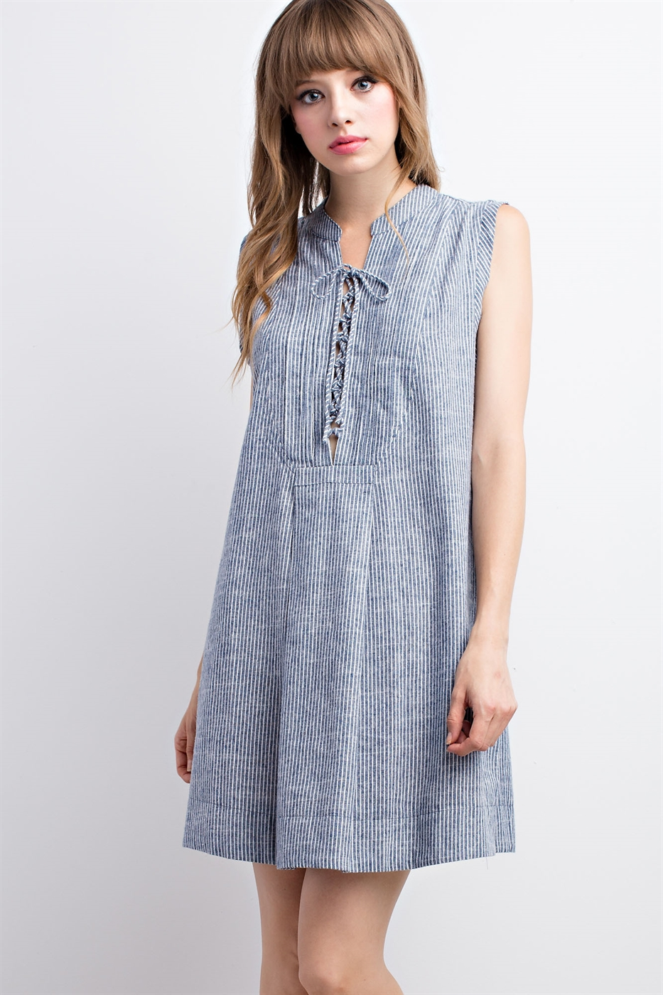 Striped Denim Lace-up Dress - orangeshine.com