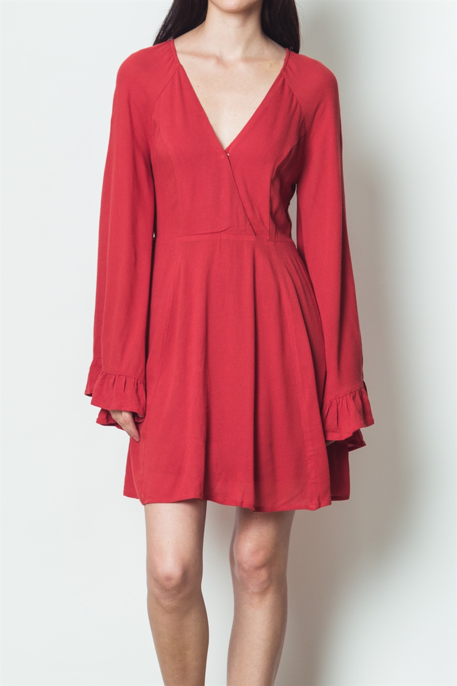 V NECK LONG SLEEVE DRESS - orangeshine.com