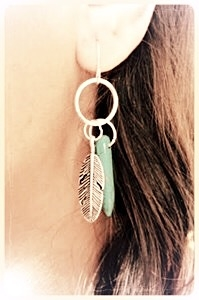 Feather and TQ spike earrings  - orangeshine.com