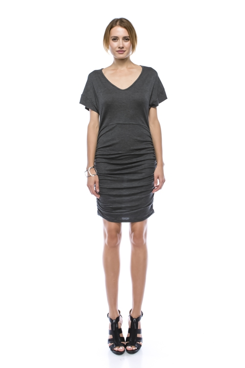 Shirring Side V Neck Dress - orangeshine.com
