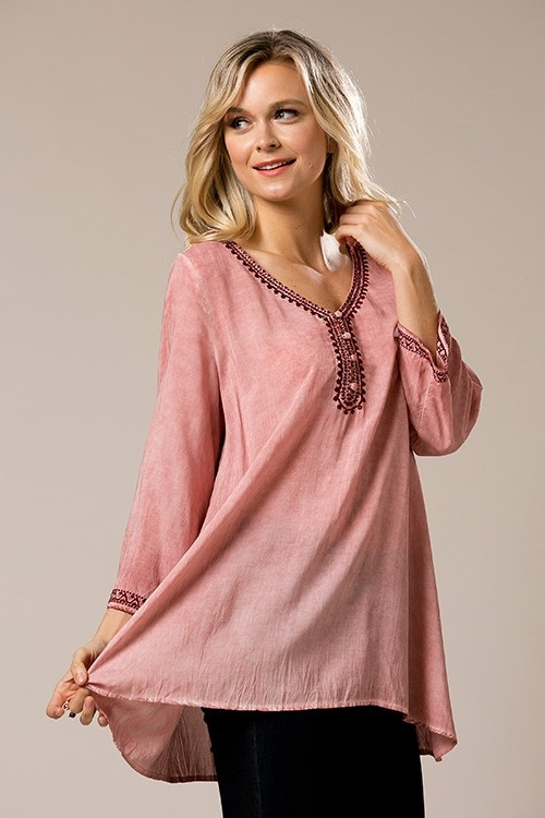 Wash dye embroidered Tunic - orangeshine.com