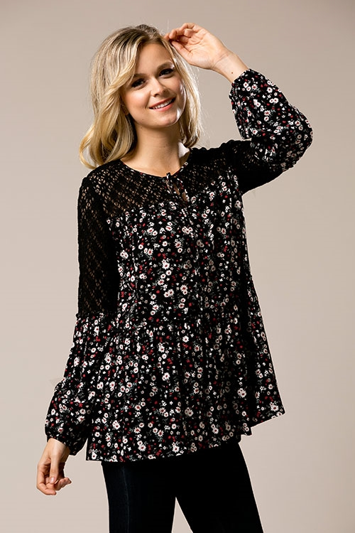 Floral Tunic with Crochet - orangeshine.com