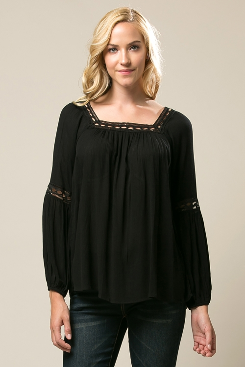 Lace Loose Fit Tunic - orangeshine.com