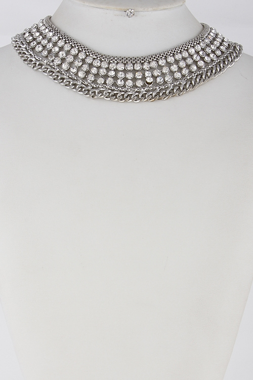 Thick Rhinestone Necklace - orangeshine.com