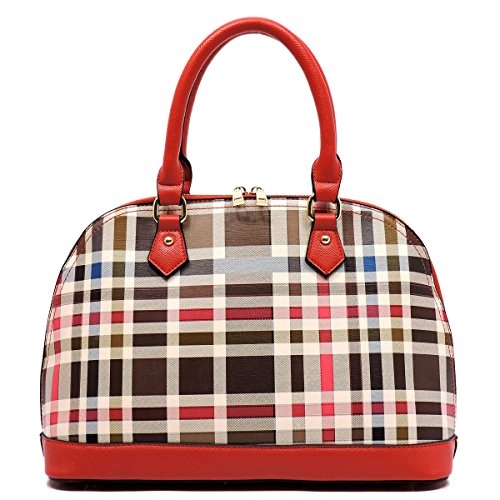 Plaid Check Dome Satchel - orangeshine.com