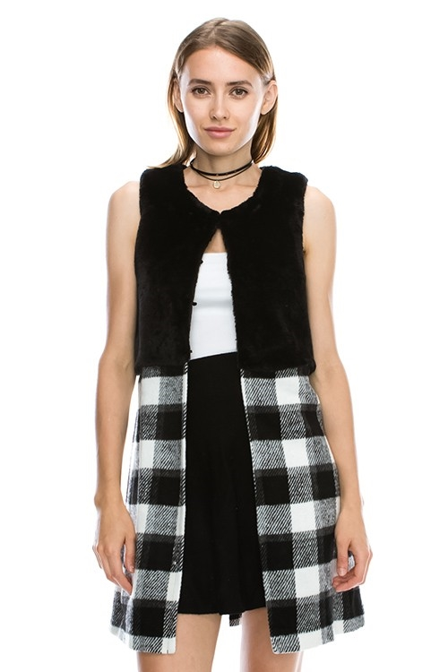 FUR  PLAID COMBO VEST JACKET - orangeshine.com