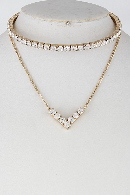 Formal Rhinestone Necklace - orangeshine.com