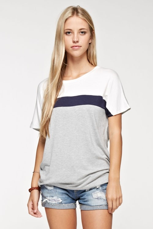Color block solid T-shirt - orangeshine.com