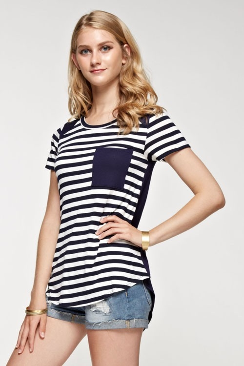 stripe contrast short top - orangeshine.com