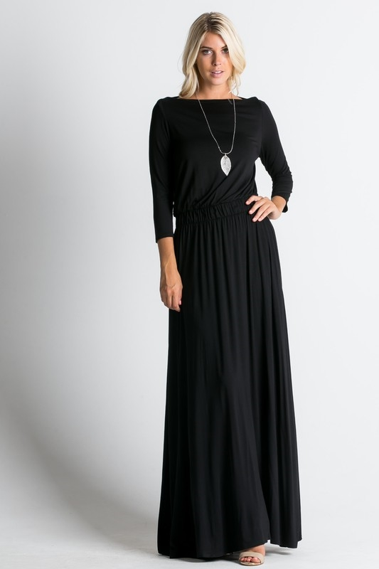 Flowy long sleeve max Dress - orangeshine.com