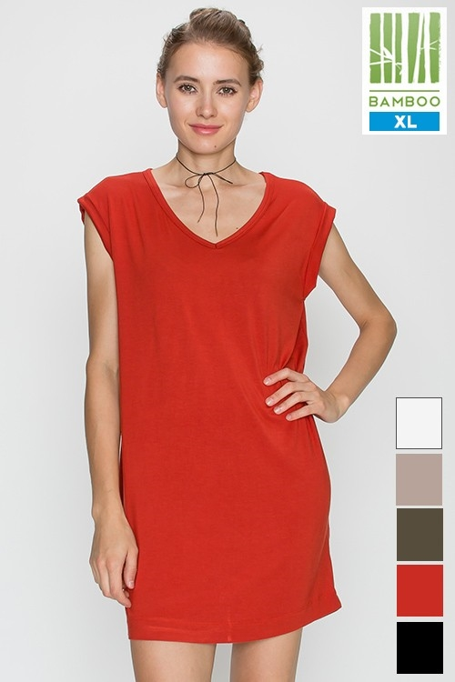 SOLID BAMBOO V NECK TUNIC - orangeshine.com