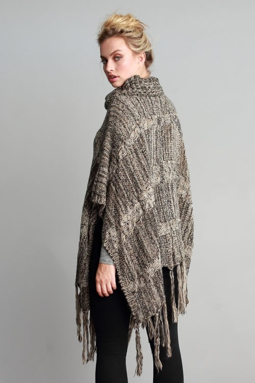 SWEATER TURTLE NECK PONCHO - orangeshine.com