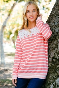 STRIPE TOP WITH LACE DETAIL - orangeshine.com